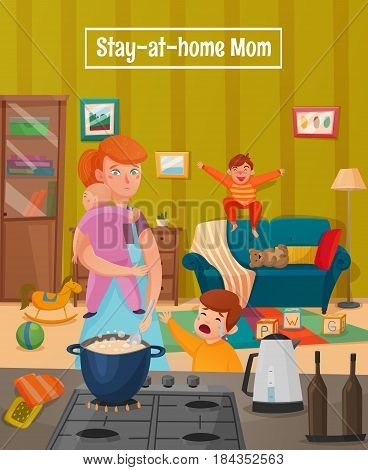 Colored motherhood tired mother poster with mother having many children and a lot of household chores vector illustration