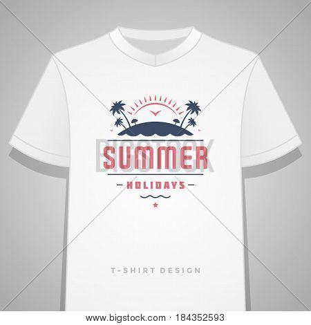 Summer holidays typography tee shirt print graphics template vector illustration. Badge or Label stamp for t-shirt apparel design. Summer silhouettes and symbols and decoration elements.