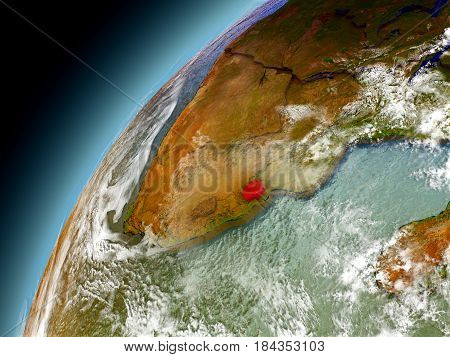 Swaziland From Orbit Of Model Earth