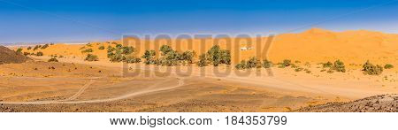 Panoramic view at the nature in area of Erg Chebbi - Morocco