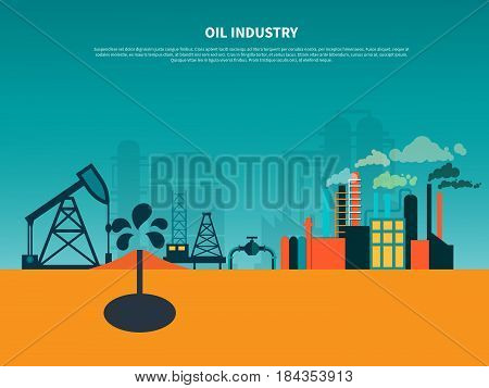 Oil industry background composition with oil well  derricks and petroleum refinery flat images with editable text vector illustration