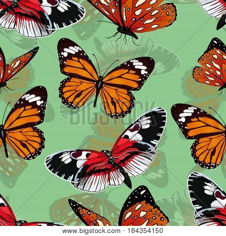 Butterflies Seamless Pattern, Vector Background. Bright Multicolored Insects On A Green Backdrop. Fo