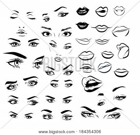 Female woman eyes and lips image collection set. Fashion girl eyes design. Vector illustration