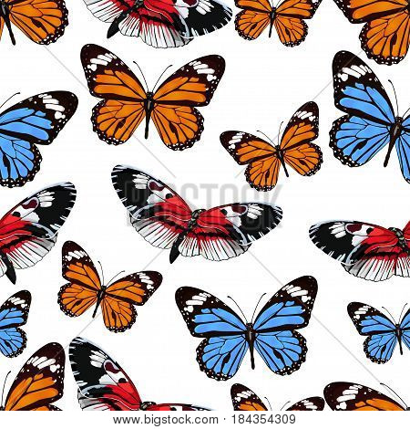 Butterflies Seamless Pattern, Vector Background. Bright Multicolored Insects On A White Backdrop. Fo