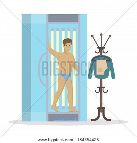 Man in solarium. Beauty salon and spa treatment. Man with bronze skin on white background.