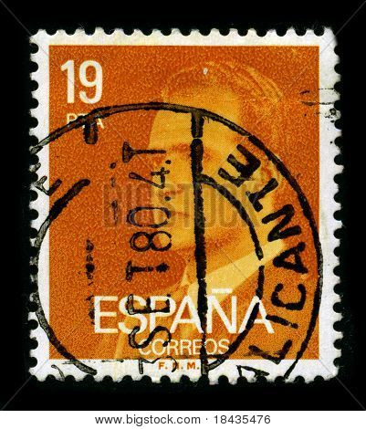 SPAIN - CIRCA 1980: A stamp printed in SPAIN shows image portrait Juan Carlos I (baptized as Juan Carlos Alfonso Victor Maria de Borbon y Borbon-Dos Sicilias) is the reigning King of Spain circa 1980.
