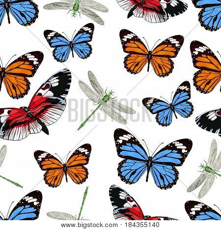 Butterflies And Dragonflies Seamless Pattern, Vector Background. Bright Multicolored Insects On A Wh