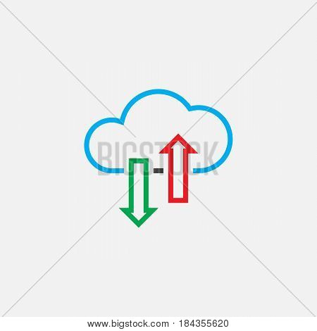 Cloud Sync Line Icon, Color Outline Vector Illustration, Linear Pictogram Isolated On White