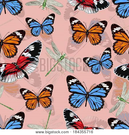 Butterflies And Dragonflies Seamless Pattern, Vector Background. Bright Multicolored Insects On A Pi