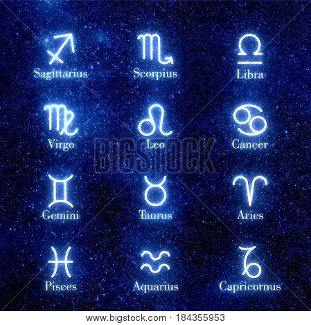 Zodiac signs. Set of icons. Astrology. Shining zodiac signs against  space sky and stars. Illustration