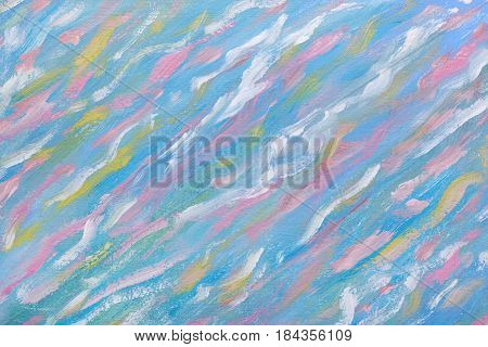 Watercolor Painting. Abstracted Waves On Oil Canvas. Water Abstraction. A Work Of Art. Beautiful Pic