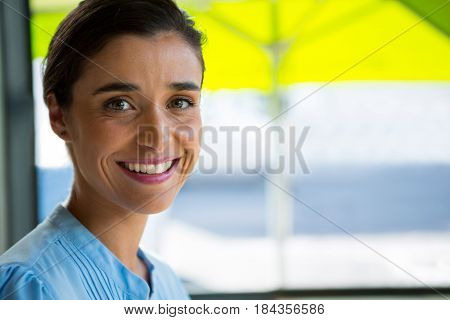 Portrait of smiling female executive at café