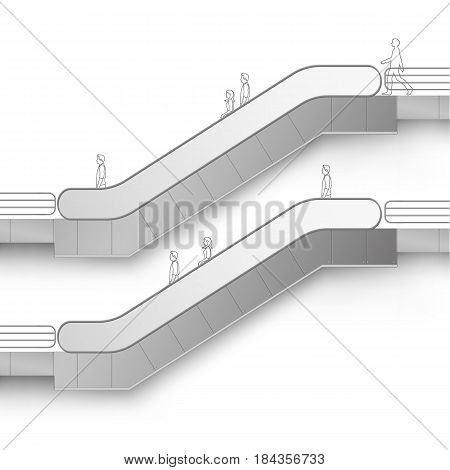 Vector Modern Escalator with Place for Advertising Side view Isolated on White Background