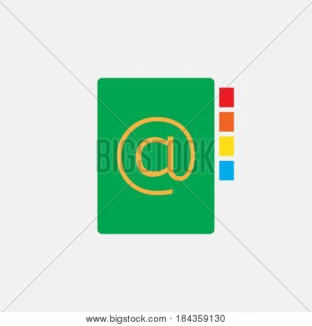 Address Book Solid Icon, Color Vector Pixel Perfect Illustration, Pictogram Isolated On White