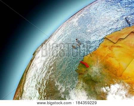Gambia From Orbit Of Model Earth