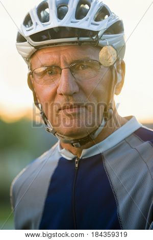 Caucasian man in bike riding sportswear