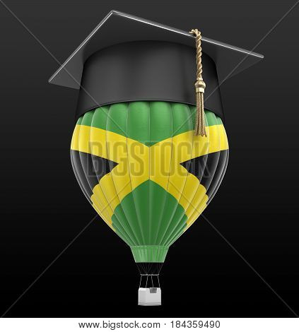 3D Illustration. Hot Air Balloon with Jamaican flag and Graduation cap. Image with clipping path
