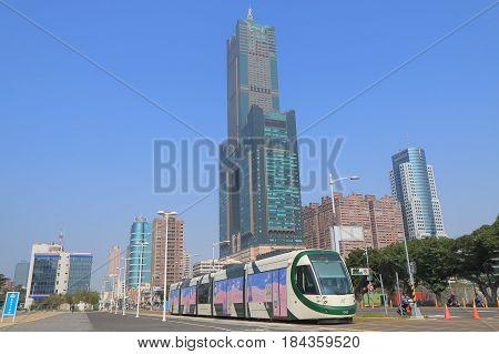 KAOHSIUNG TAIWAN - DECEMBER 15, 2016: Light Rail transit LRT train runs through downtown Kaohsiung.