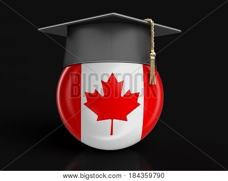 3D Illustration. Graduation cap and Canadian flag. Image with clipping path