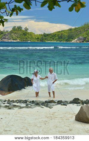 Happy cute elderly couple at sea in summer