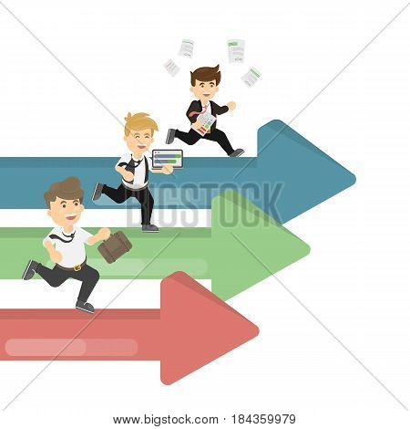 Isolated running businessmen. Concep of competition, businesa nd sucess.