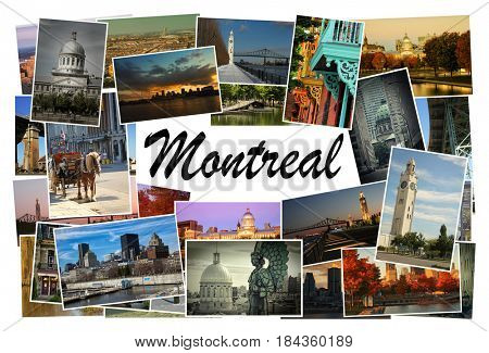 Collage of images from famous location in Montreal, Canada with copy space in the middle with the word Montreal on white background