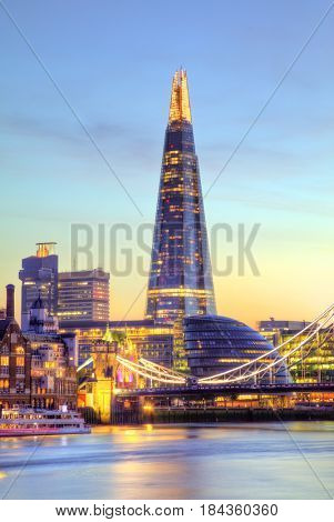Beautiful sunset of modern part of city London, England, Europe. One of the leading centre of global finance.