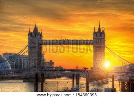 London tower Bridge in sunset light. London is one of the most beautiful historical and modern city in the world.