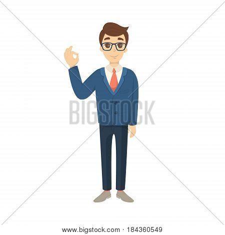 Isolated businesman with ok gesture on white background.
