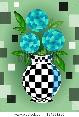 Cubist bouquet with orange flowers, 3d effect optical illusion, decoration on green background, nice spring or summer illustration, vector EPS 10