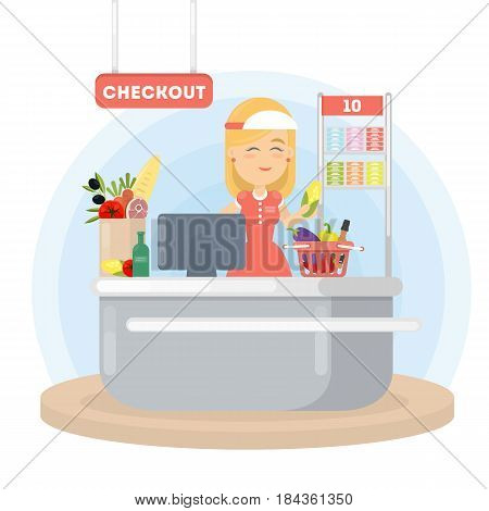 Cashier in supermarket. Checkout with woman in uniform and grocery.