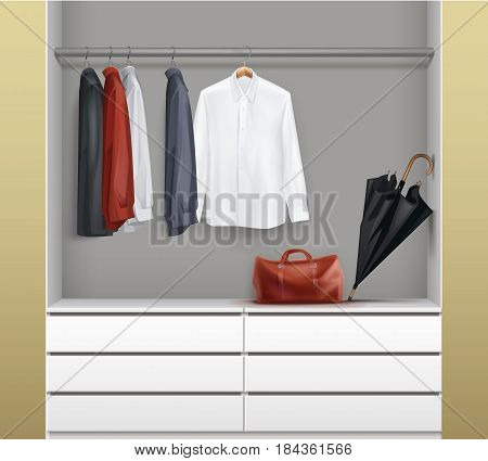 Vector open white wardrobe with drawers, red, black, blue shirts, umbrella and bag front view isolated on background
