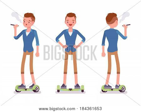 Gyroscooter boy riding a self-balancing board, wearing beige chino shorts, hipster hairstyle, standing pose, vaping, vector flat style cartoon illustration isolated, white background, front, rear view