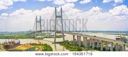 Ho Chi Minh City, Vietnam - May 1st, 2017: Aerial view of the Phu My suspension bridge, this is building beautiful cable-stayed bridge to show the country's development in Ho Chi Minh City, Vietnam