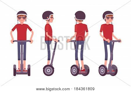 Young handsome man riding a black segway, wearing helmet, modern outdoor transport, active fun, standing pose, vector flat style cartoon illustration isolated, white background, front, side, rear view