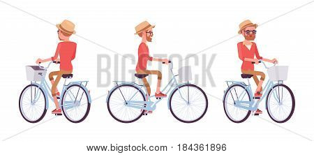 Handsome middle age man with beard riding a city bike, wearing a summer straw hat, enjoying urban ride, vector flat style cartoon illustration isolated, white background, front, side, rear view