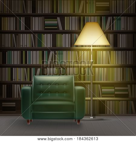 Vector home library interior with large bookcase full of different books, green armchair and burning floor lamp