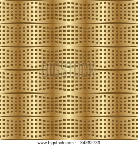 Optical art background with 3d illusion, deformed golden metal grid , vector EPS 10