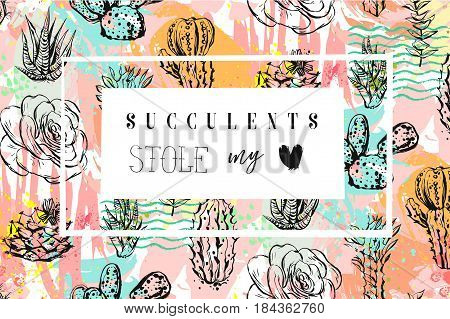 Hand drawn vector abstract creative header with succulents flower, cacti plants and modern calligraphy quote Succulents stole my heart in pastel color isolated on white background.Wedding, save the date