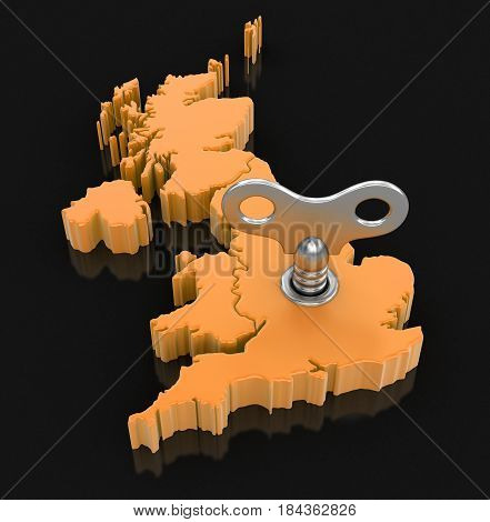 3D Illustration. Map of UK with winding key. Image with clipping path.