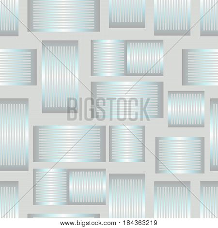Seamless abstract background with metallic silver rectangle patterns, 3d optical art illusion, vector EPS 10