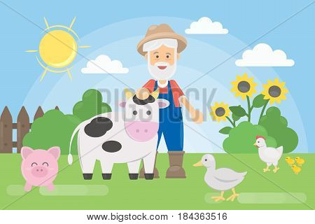 Farmer with animals. Old man with farm animals as cow, pig and more.
