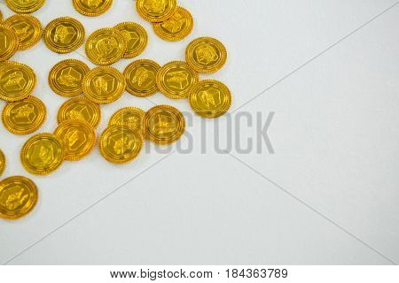 St. Patricks Day chocolate gold coins on white background