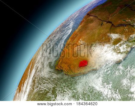 Lesotho From Orbit Of Model Earth