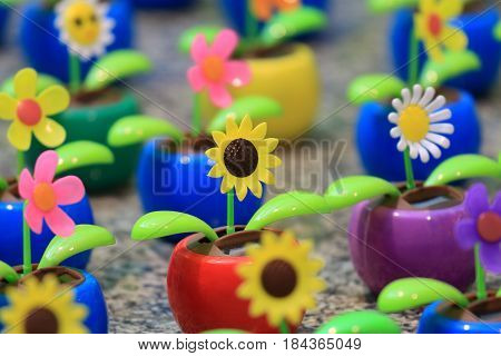 Group of colourful solar powered flower pod.