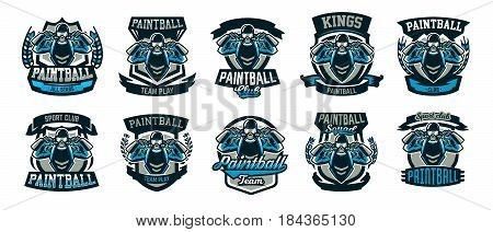 A collection of logos, emblems, a person playing paintball holds two guns. Team game, ammunition, shooting range, war. Vector illustration.