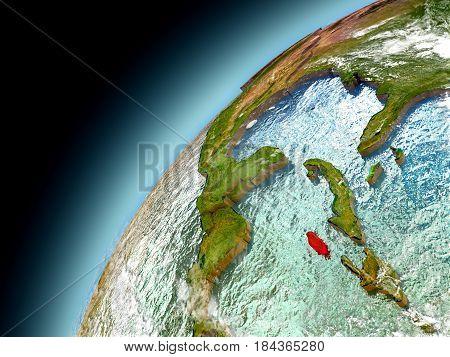 Jamaica From Orbit Of Model Earth