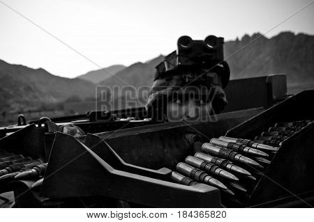 Kabul Afghanistan- circa 2011. Legionnaire of the French Foreign Legion in his combat post during a combat mission in Afghanistan.