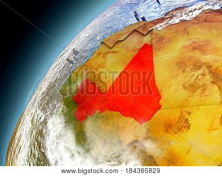 Mali From Orbit Of Model Earth
