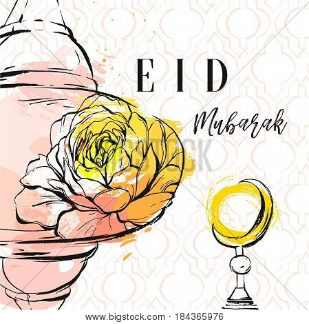 Hand drawn vector abstract freehand textured collage template greeting card with arabic pattern, latern, moon, graphic blooming flower and modern calligraphy Eid Mubarak isolated on pastel background